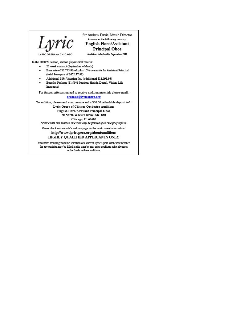 Lyric Opera Announces English Horn/Assistant Principal Oboe Audition