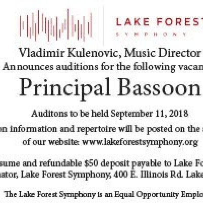 Lake Forest Symphony Announces Principal Bassoon Auditions