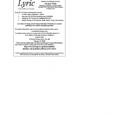 Lyric Opera of Chicago Announces Section Viola Auditions