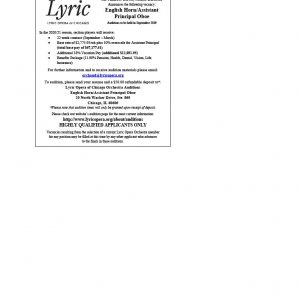 Lyric Opera Announces English Horn/Assistant Principal Oboe Audition.
