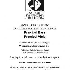 Elgin Symphony Announces Principal Bass and Principal Viola Auditions