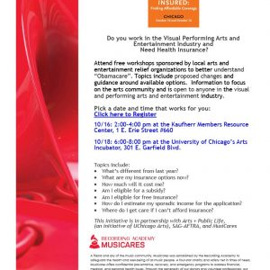 Musicares Announces Seminar on Health Insurance Issues for Performing Artists!  October 16 and 18, 2018.