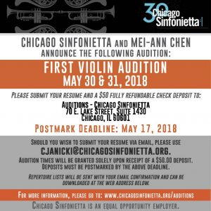 Chicago Sinfonietta Announces First Violin Audition