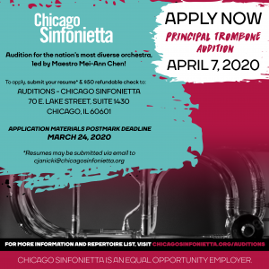 Chicago Sinfonietta Announces Principal Trombone Audition