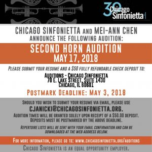 Chicago Sinfonietta Announces Second Horn Audition