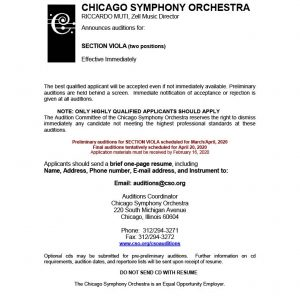 Chicago Symphony Orchestra Audition