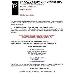 Chicago Symphony Orchestra Announces Principal Horn Audition