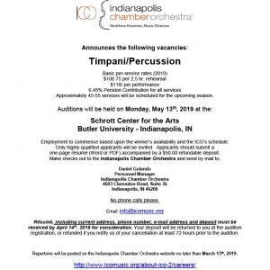 Indianapolis Chamber Orchestra Announces Timpani/Percussion Audition