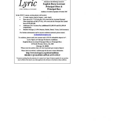 Lyric Opera Orchestra Announces Principal Bass, English Horn/Assistant Principal Oboe Auditions