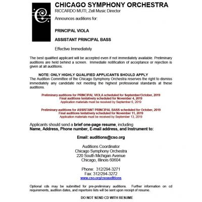 News/Auditions - Chicago Federation of Musicians