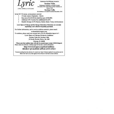 Lyric Opera Announces Auditions for Section Viola and Cello